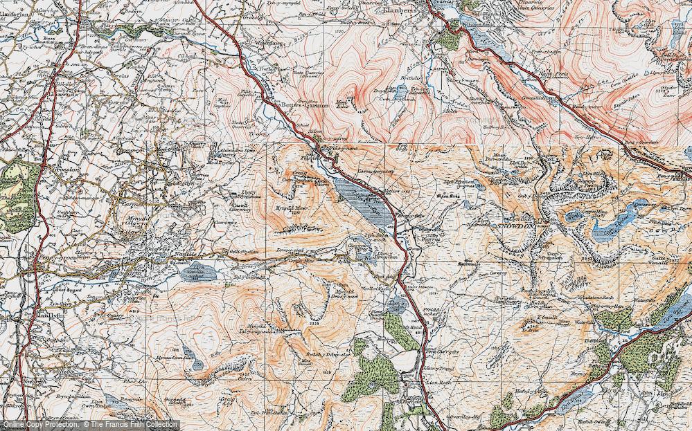 Old Map of Llyn Cwellyn, 1922 in 1922