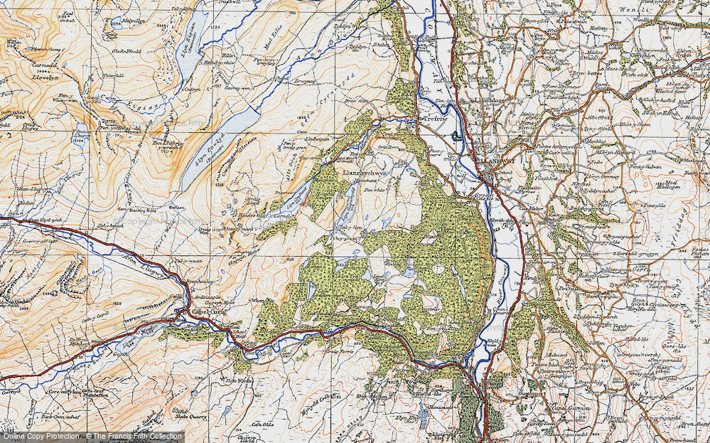 Old Map of Historic Map covering Afon Crafnant in 1922