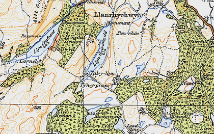 Old map of Afon Crafnant in 1922