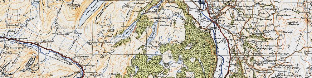 Old map of Afon Crafnant in 1922