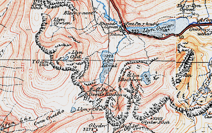 Old map of Afon Lloer in 1922