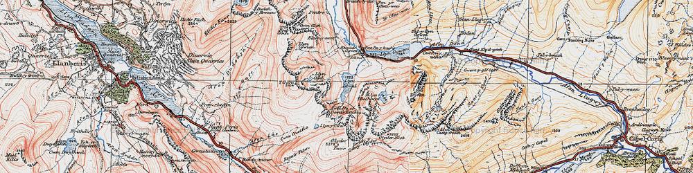Old map of Afon Lloer in 1922