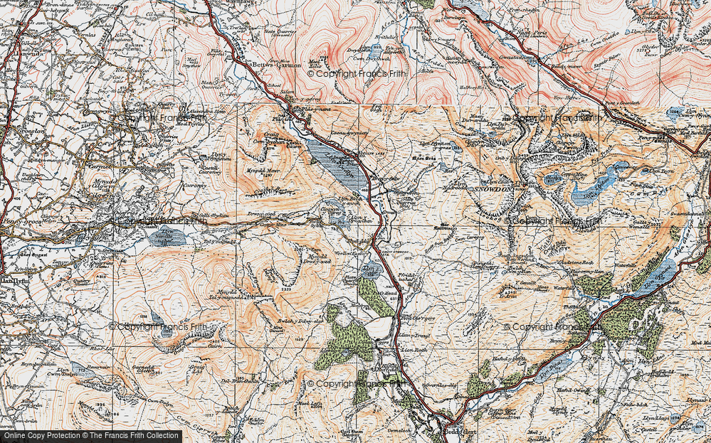 Old Map of Historic Map covering Afon Treweunydd in 1922
