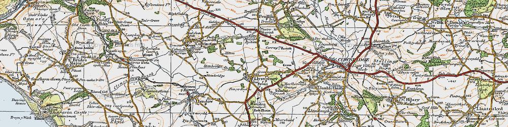 Old map of Llysworney in 1922