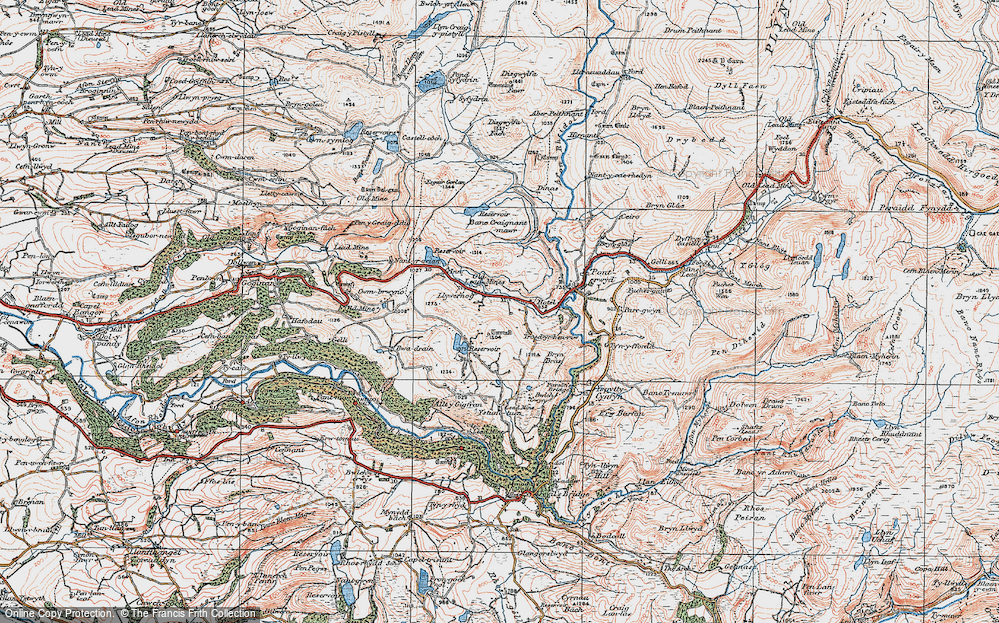 Old Map of Historic Map covering Banc Creignant Mawr in 1922