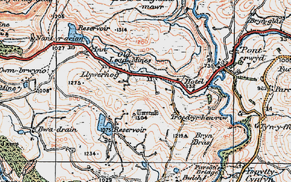 Old map of Banc Creignant Mawr in 1922