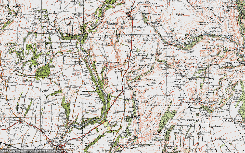 Old Map of Historic Map covering Adderstone Rigg in 1925
