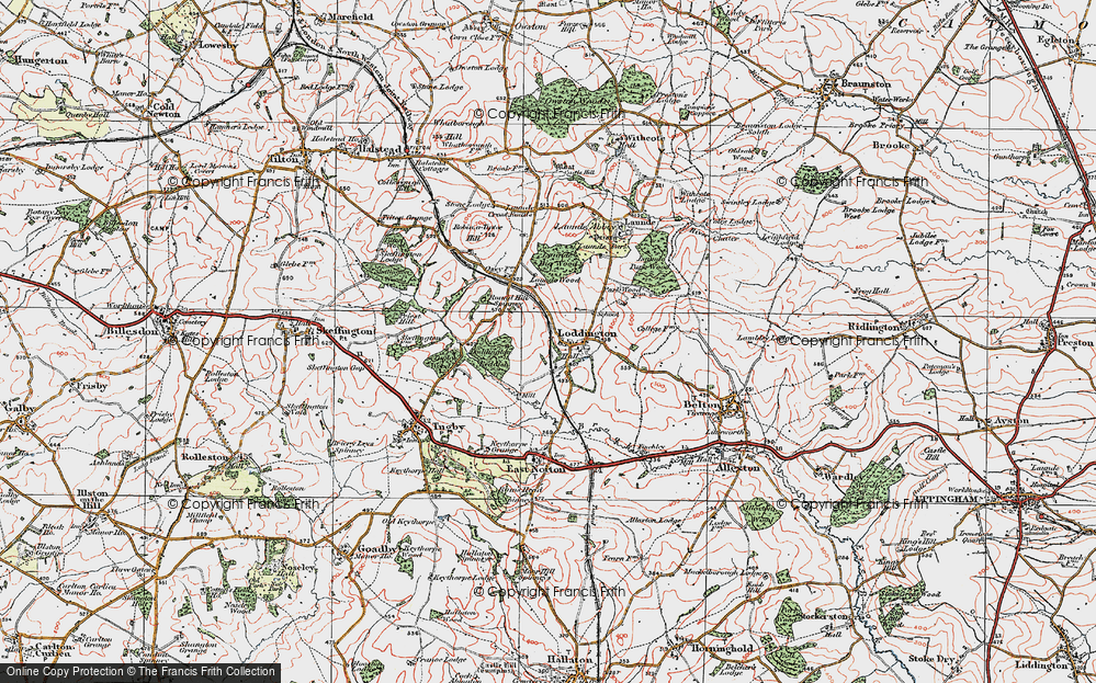 Old Map of Historic Map covering Launde Big Wood in 1921