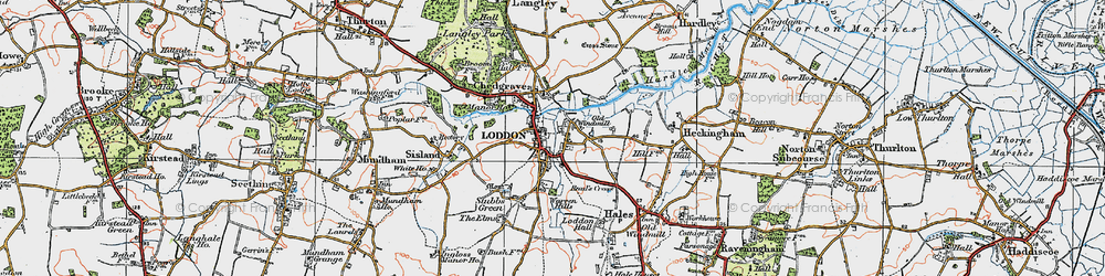 Old map of Loddon in 1922