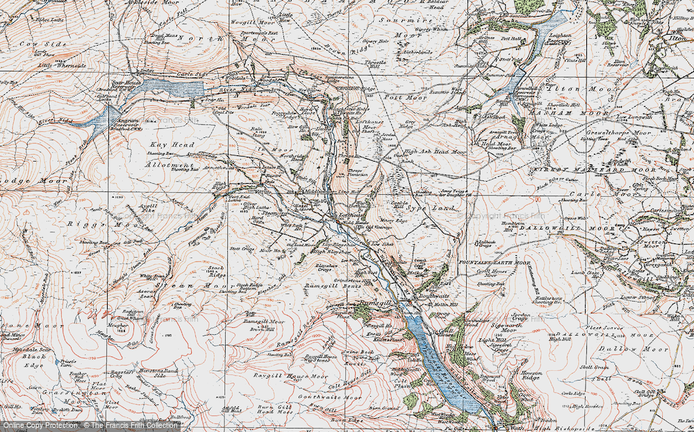 Old Map of Historic Map covering Ling Hall in 1925