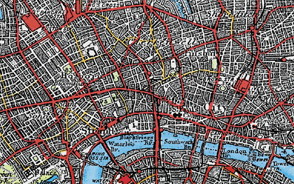Old map of London in 1920