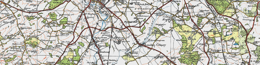 Old map of London Colney in 1920