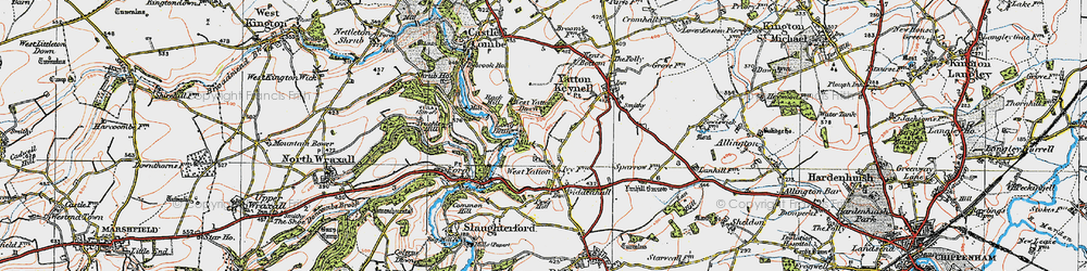 Old map of West Yatton Down in 1919