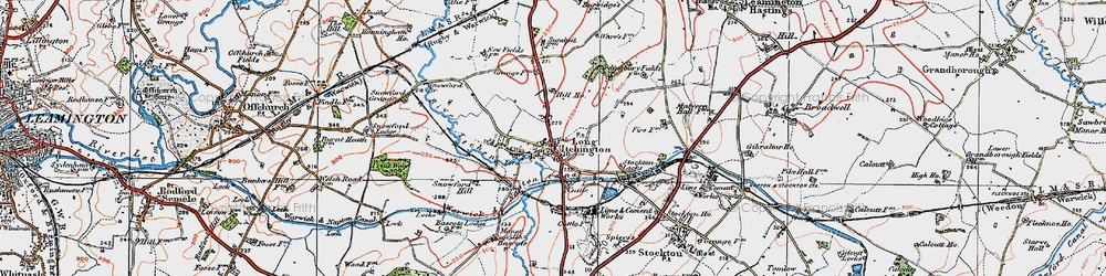 Old map of Long Itchington in 1919