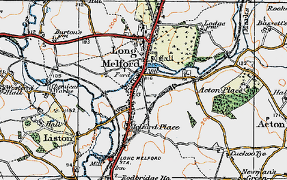 Old map of Long Melford in 1921