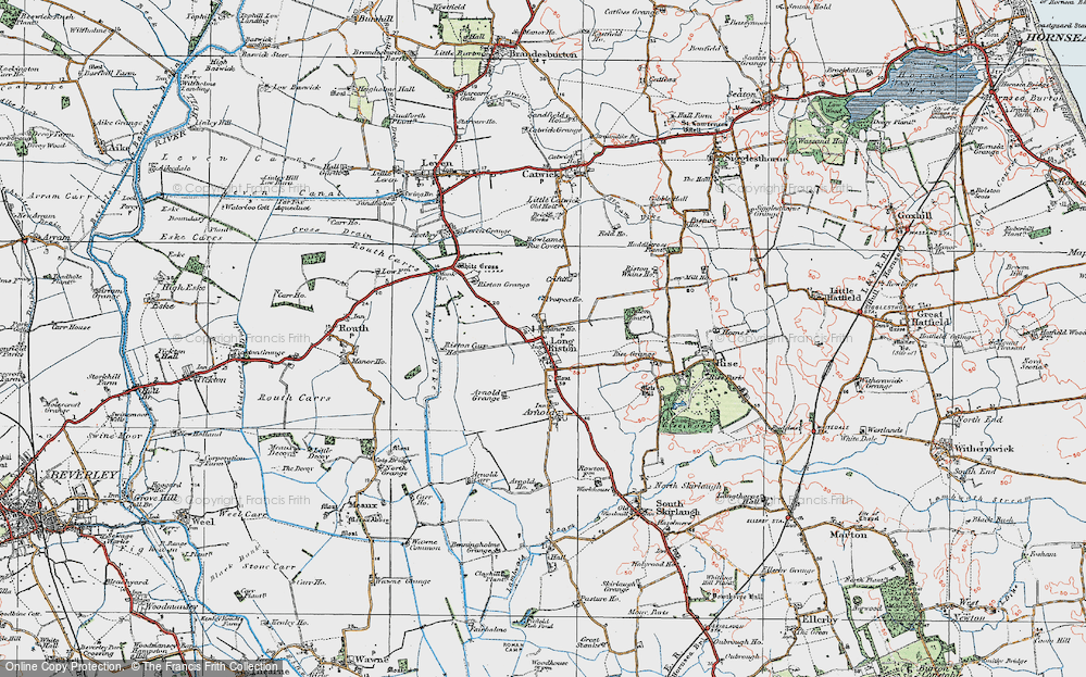 Old Map of Long Riston, 1924 in 1924
