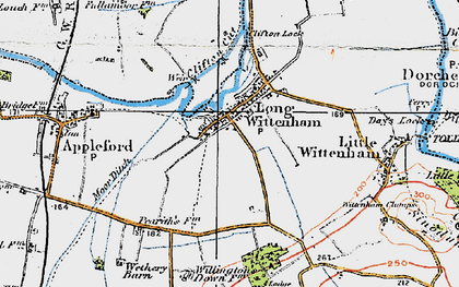 Old map of Long Wittenham in 1919