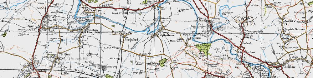 Old map of Long Wittenham in 1919