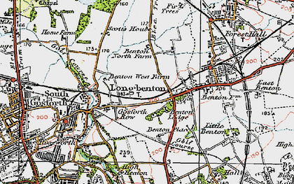 Old map of Longbenton in 1925