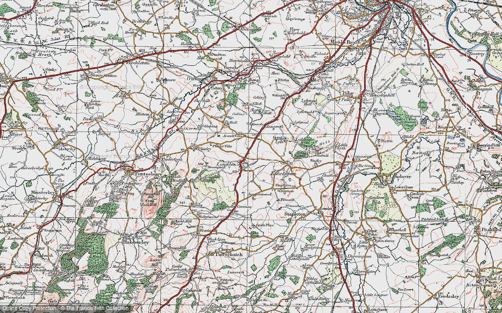 Old Map of Historic Map covering Arscott Villa in 1921