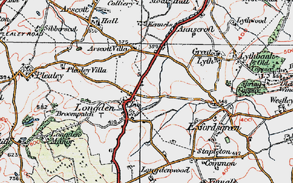 Old map of Arscott Villa in 1921