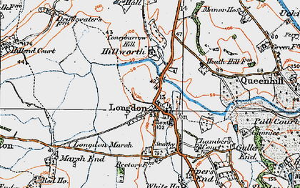 Old map of Longdon in 1920