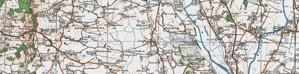 Old map of Longdon in 1920