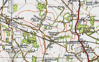 Old map of Longfield Hill in 1920