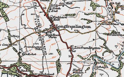 Old map of Longframlington in 1925