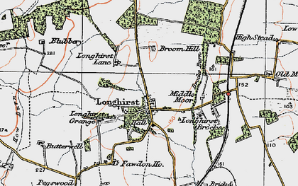 Old map of Longhirst in 1925