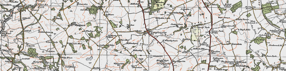Old map of Todburn Moor in 1925