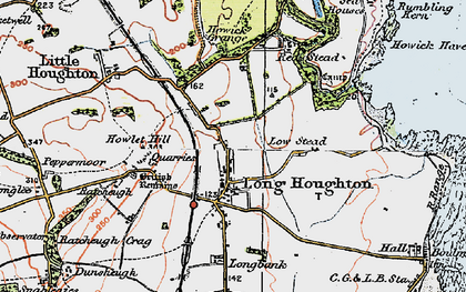 Old map of Longhoughton in 1926