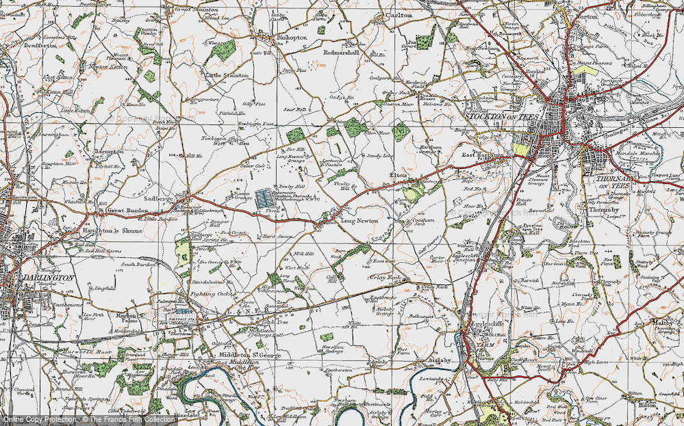 Old Map of Historic Map covering Larberry Pastures in 1925