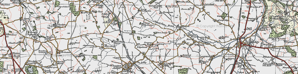 Old map of Whiston Brook in 1921