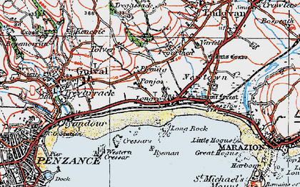 Old map of Longrock in 1919