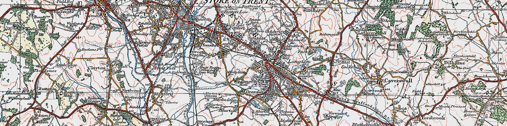 Old map of Longton in 1921