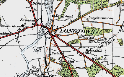 Old map of Longtown in 1925