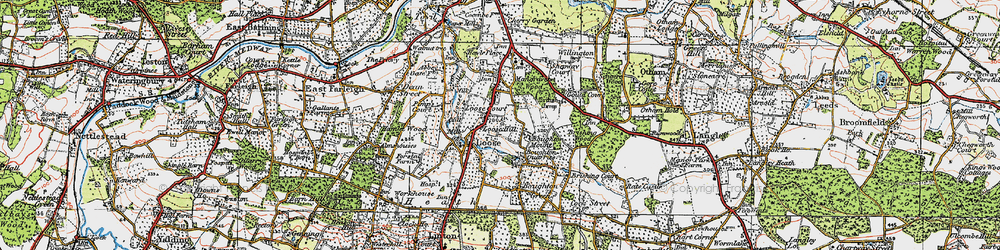 Old map of Loose in 1921