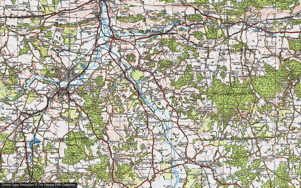 Old Map of Historic Map covering Woodhill in 1920