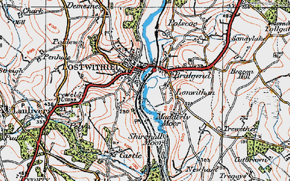 Old map of Lostwithiel in 1919
