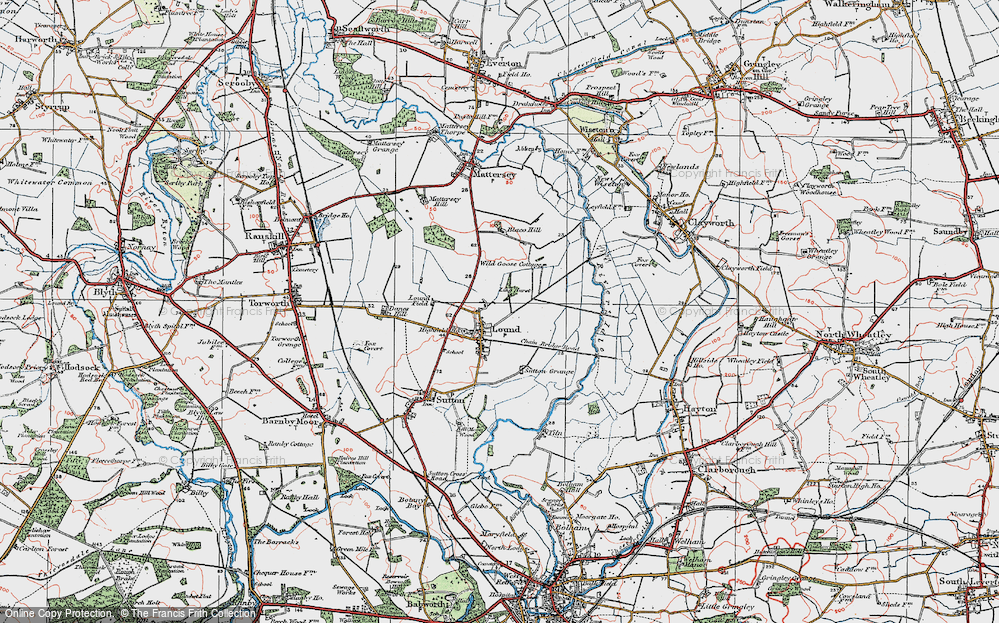 Old Map of Historic Map covering Ling Hurst Lakes in 1923