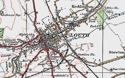 Old map of Louth in 1923