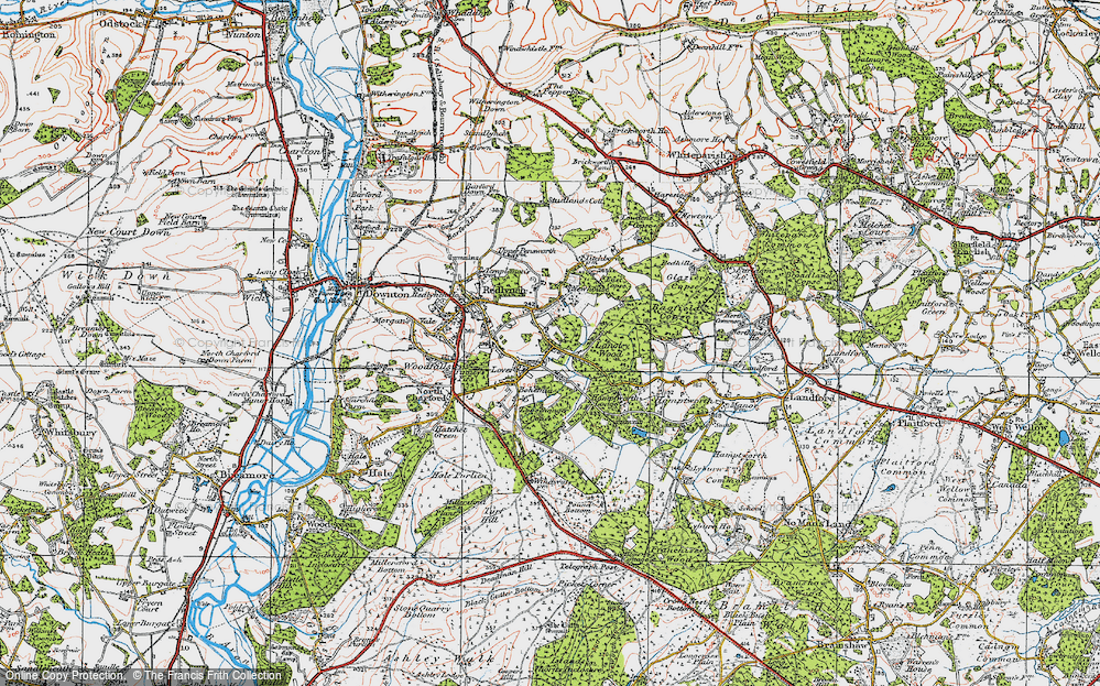 Old Map of Historic Map covering Langley Wood in 1919