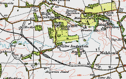 Old map of Low Angerton in 1925