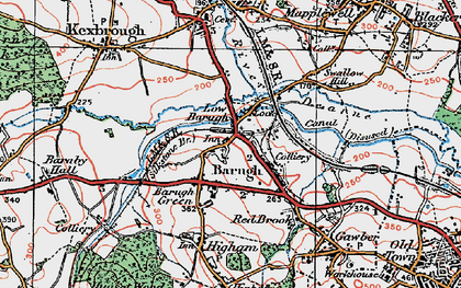 Old map of Low Barugh in 1924