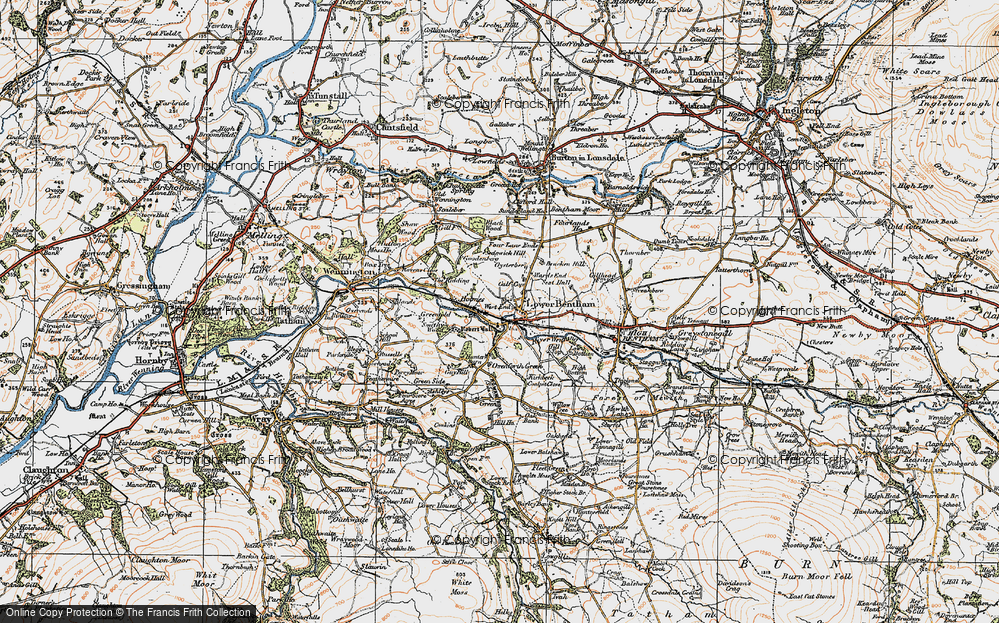 Old Map of Historic Map covering Ashleys in 1924