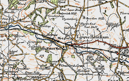 Old map of Low Bentham in 1924