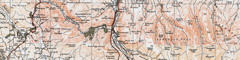 Old map of Whitefold Moss in 1925