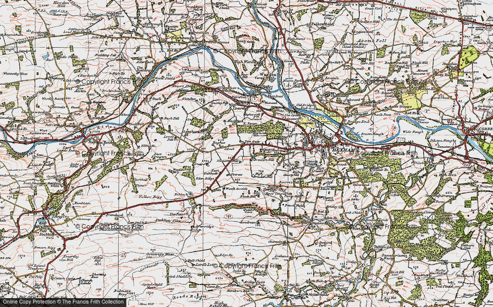 Old Map of Historic Map covering Leazes in 1925