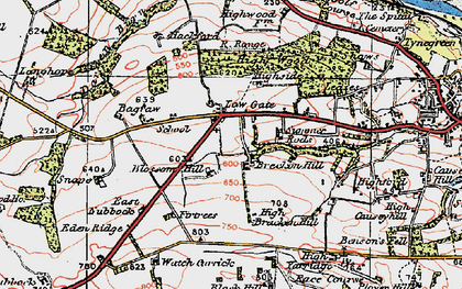 Old map of Leazes in 1925